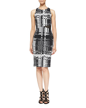 Kathleen Printed Mesh-Side Dress