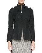 Zip-Front Python-Print Jacket