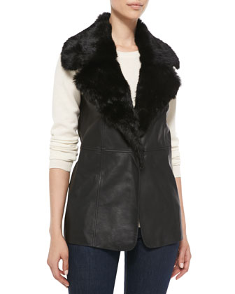 Leather Vest with Fur Collar