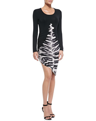 Blais Long-Sleeve Skeleton-Print Dress