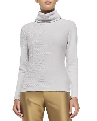 Cashmere Cable-Mix Turtleneck
