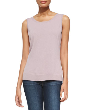 Ribbed-Trim Cashmere-Blend Tank