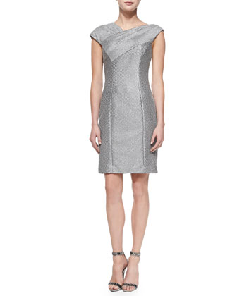 Cap-Sleeve Textured Sheath Dress