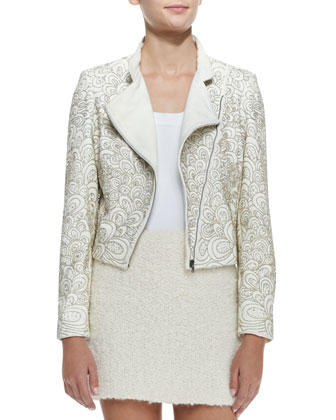 Jace Beaded Quilted Moto Jacket, Lucy Sleeveless Silk Trapeze Top & Neville ...