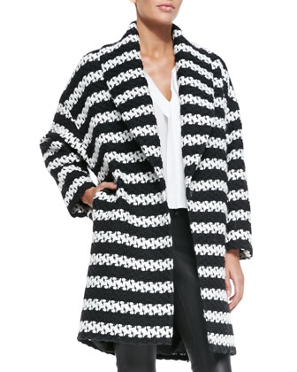 Ralter Striped Tweed Oversized Coat