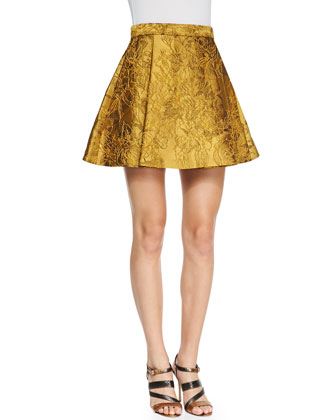 Short-Sleeve Crewneck Crop Top & Vernon Metallic Jacquard Pleated Skirt