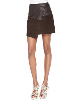 Audreana Boxy Fleece Sweater & Leather/Suede Faux-Wrap Miniskirt