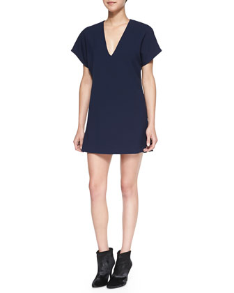 Bema V-Neck Crepe Tunic Dress