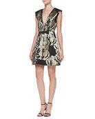 Pacey Metallic Jacquard Structured Dress