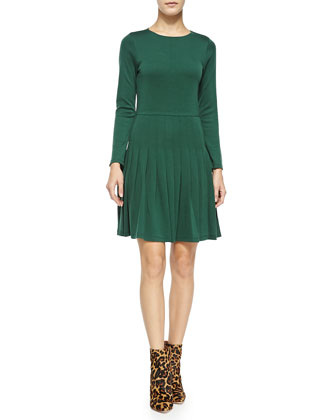 Hue Long-Sleeve Dress W/ Pleated Skirt