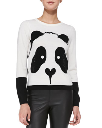 Crewneck Rhinestone Panda Sweater & Leather Leggings