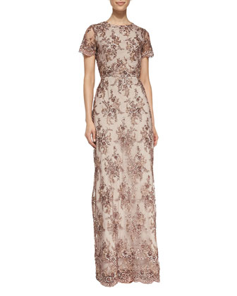 Emily Bead Open-Back Gown