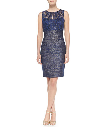 Sleeveless Lace-Top Sheath Dress