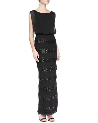Blouson Gown with Sequined Bands Skirt