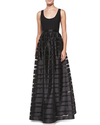Sleeveless Banded Skirt-Overlay Gown