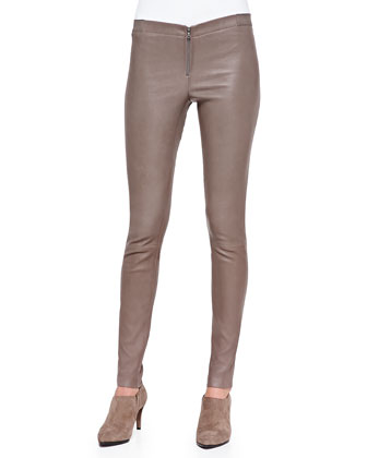 Rabbit Fur/Knit Combo Top & Front-Zip Leather Leggings