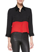 Cropped Colorblock Button-Down Blouse