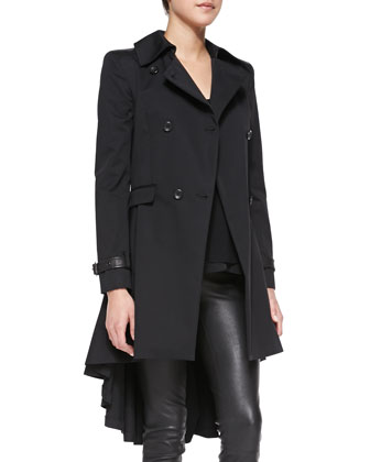 Double-Breasted High-Low Trenchcoat