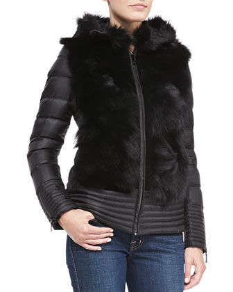Tocca Fox-Fur-Trim Puffer, Black