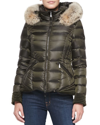 Olivia Puffer Coat with Fur-Trimmed Hood