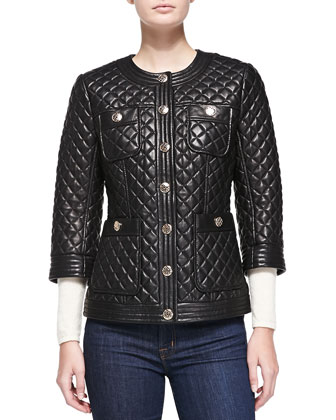 Quilted Leather Jacket W/ Golden Buttons