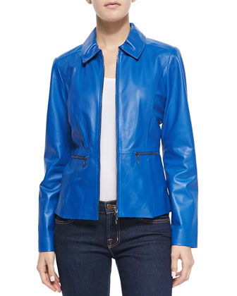 Zip-Front Pinched-Collar Leather Jacket
