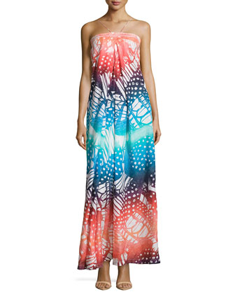 Halter Maxi Silk Printed Dress