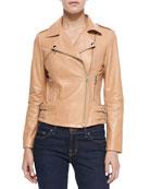 Moto Leather Jacket, Beige