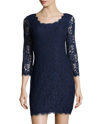 Zarita Long-Sleeve Lace Dress, Navy