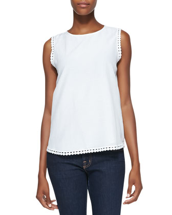 Jessa Sleeveless Decorative-Trim Top, White