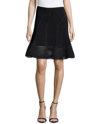 Samara Flared Crochet Hem Skirt, Black