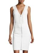 Sleeveless Zip-Front Knit Dress