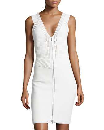Sleeveless Zip-Front Knit Dress