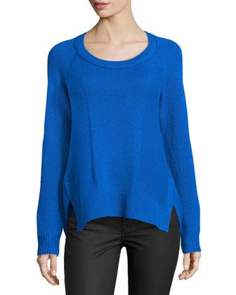 Long-Sleeve Cashmere Sweater, Blue Diamond