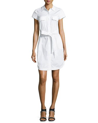 Short-Sleeve Belted Shirtdress, White