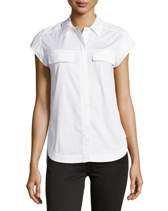 Cap-Sleeve Poplin Blouse, White