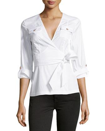3/4-Sleeve Wrap Blouse, White