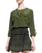 Danielle Flap-Pocket Blouse, Olive Green Nite