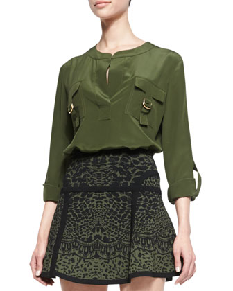 Danielle Flap-Pocket Blouse, Olive Green Nite