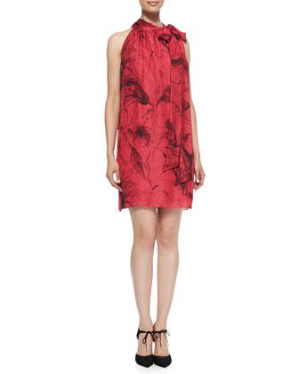 Tie-Neck Floral-Print Silk Dress