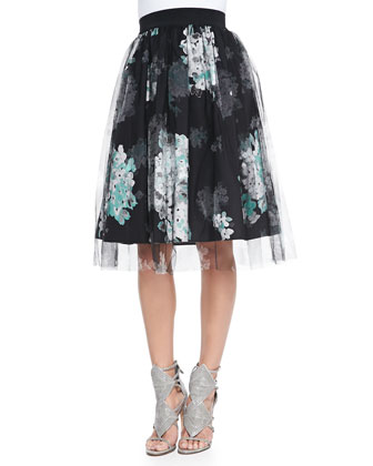 Boat-Neck Knit Pullover Sweater & Monica Floral-Print/Tulle Skirt