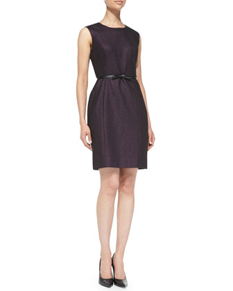Belted Metallic Tweed Sheath Dress