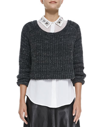 Cropped Ribbed Knit Sweater, Jane Bead-Collar Stretch-Silk Blouse & Bell ...