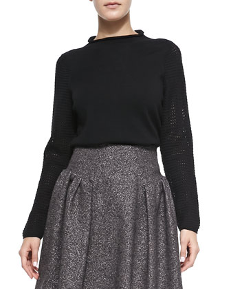 Wool High-Neck Sweater and Gathered Tweed Skirt
