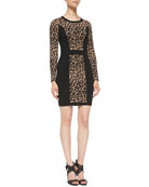 Cheetah/Solid Long-Sleeve Knit Sheath Dress