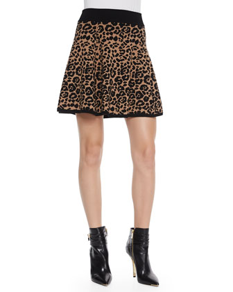 Knit Beaded-Cheetah Pullover & Cheetah-Jacquard Flared Skirt