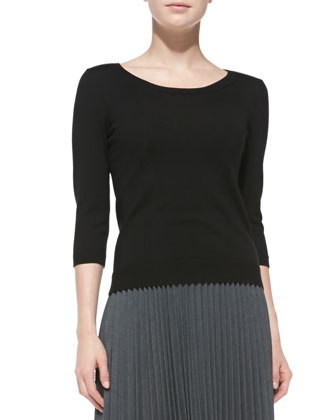 Merino 3/4-Sleeve Zip-Back Sweater