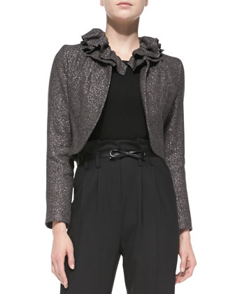 Ruffled-Collar Tweed Jacket, Knit 3/4-Sleeve Zip-Back Sweater & Paperbag ...