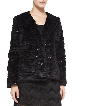 Short Faux-Fur Metallic Jacket