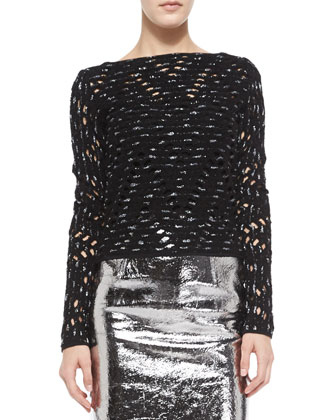 Metallic Ballet Top & Leather Pencil Skirt